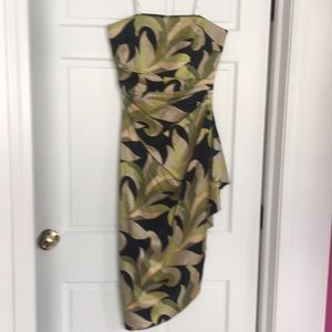 Beautiful 100% silk strapless asymmetrical dress